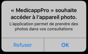 message-acces-appareil-photo-medicapp-pro
